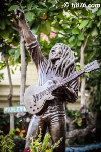 Statue of Bob Marley in the Courtyard of the  Bob Marley Museum