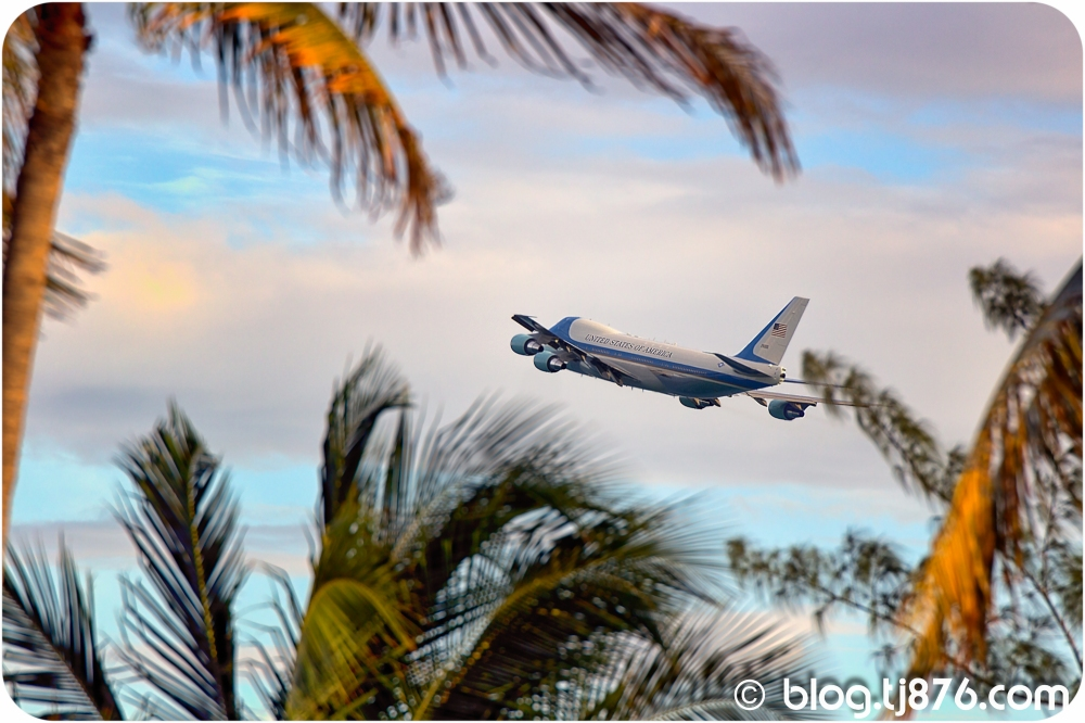 Air Force One taking off at the Norman Manley Internatiomal Airport Jamaica