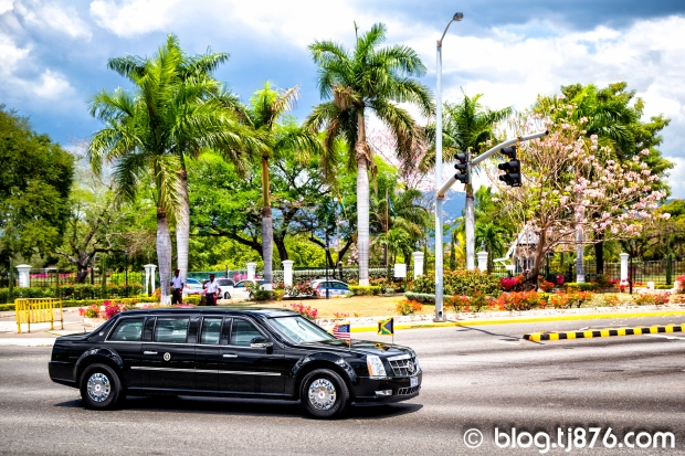 Obamas Cadillac The Beast in Jamaica
